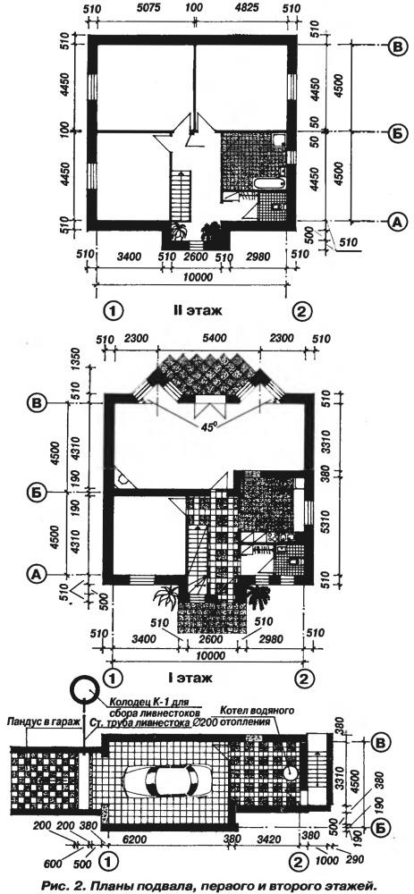 План первого и второго этажа, подвала