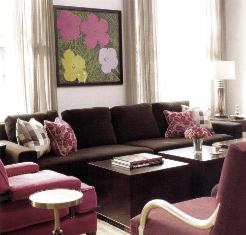 Розово красные цвета в интерьере