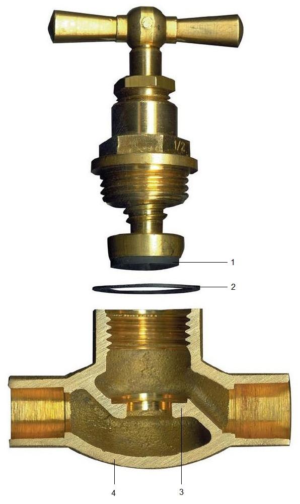 Устройство водопроводного вентиля. Запорного крана