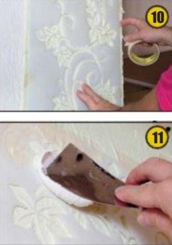 Нанесение декоративной шпатлевки с использованием трафарета
