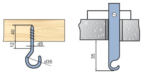 Виды потолочных крюков для подвески люстр