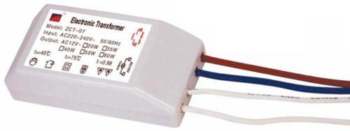 Понижающий трансформатор для галогенных ламп: 2 провода предназначены для сетевого напряжения 220 В, еще 2 — для выходящего напряжения 12 В