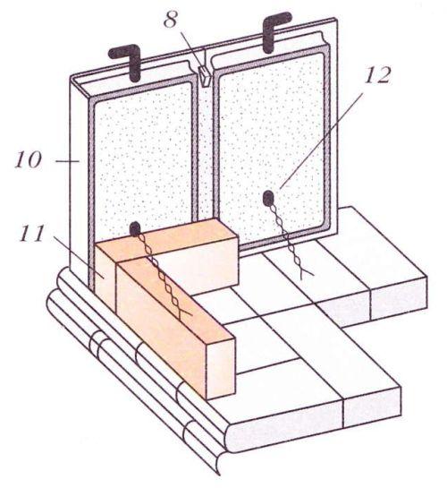 Установка боковых и угловых изразцов с проволочным креплением