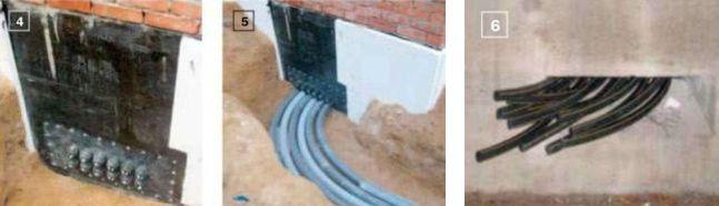 4, 5, 6. Ввод трубопровода выполнили в цокольной части одной из стен здания, то есть на одном уровне с предполагаемым местом монтажа теплонасосной установки