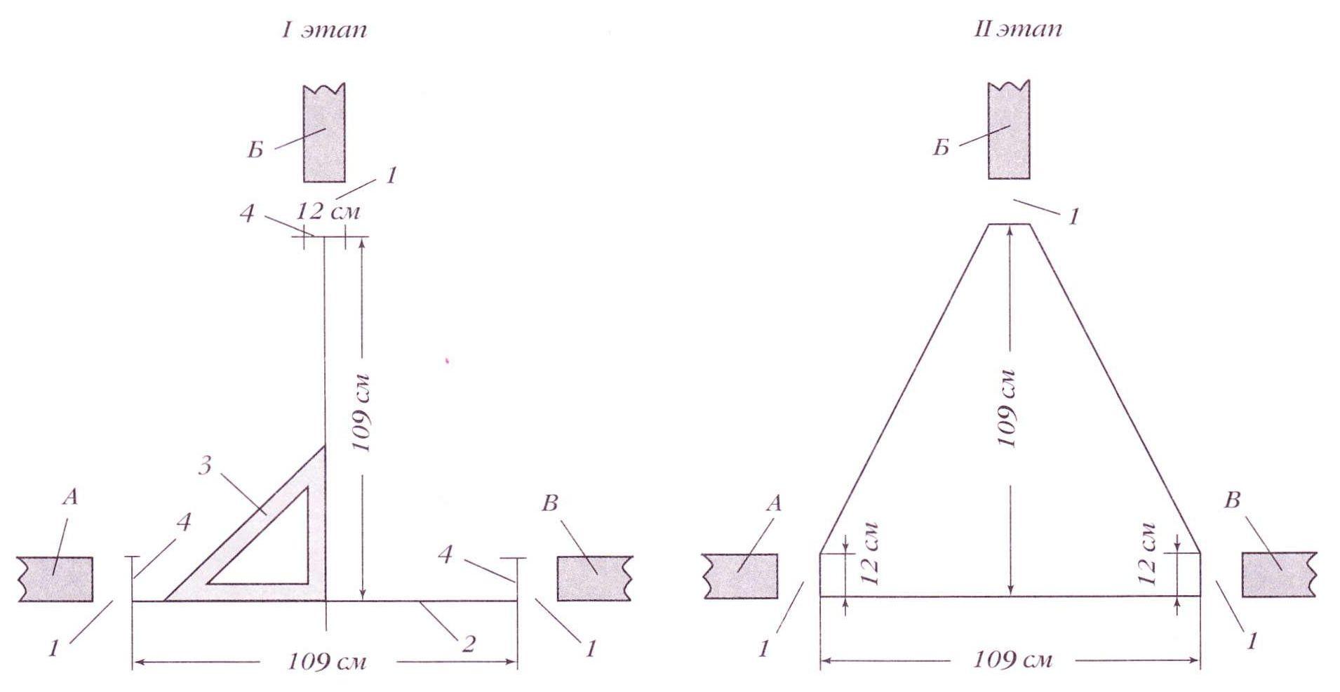 Треугольная печь. Разметка под кладку: I этап - нанесение линий по заданным размерам печи, II этап - вычерчивание контура печи