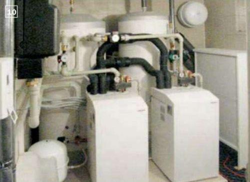 10. Оборудование теплонасосной установки смонтировали на предварительно подготовленном бетонном пандусе площадью 4 м².