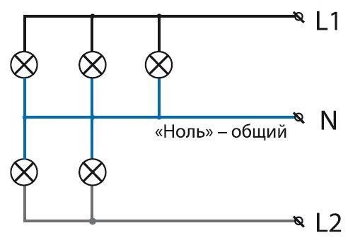 Схема параллельного соединения цепи на примере светильника с 5 лампами