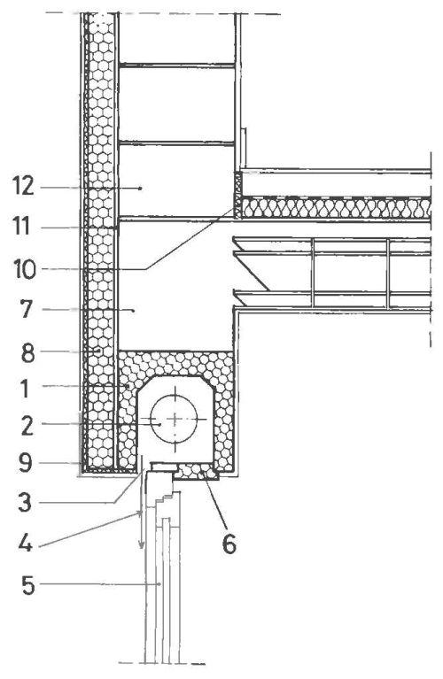 Узел с современной коробкой для жалюзи, оснащенной теплоизоляцией, и с внешней теплоизолирующей системой