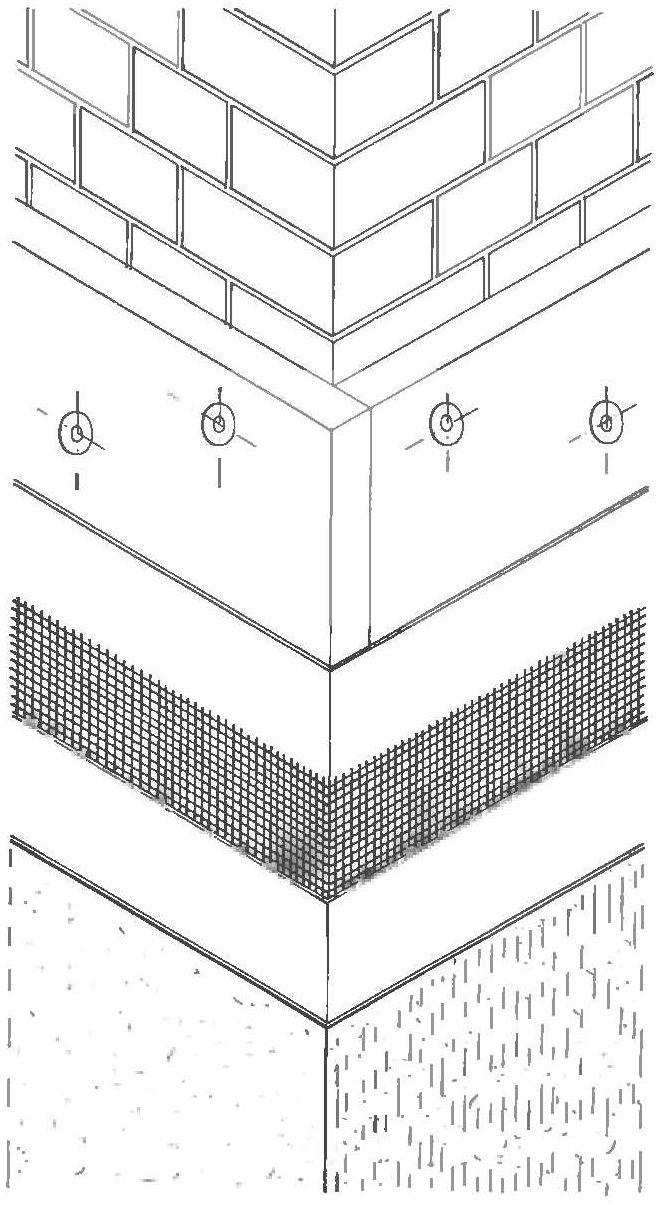 Теплоизоляция фасада из теплоизолирующих элементов - с прямым стыком по краю, с облицовочными слоями на внешней стене