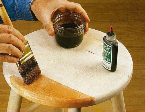 Тонирование плотной древесины