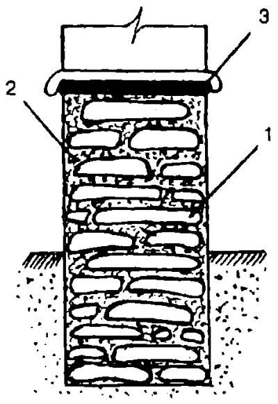 Каменный фундаментный столб из твердых горных пород