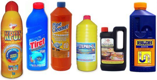 Устранение засора с помощью химических очистителей