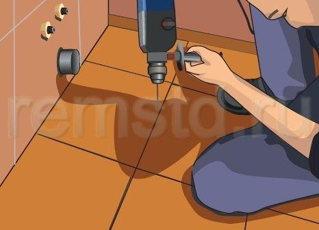 3. Сверлим отверстия в полу, предварительно разметив места крепления