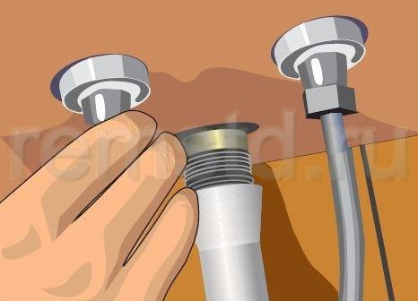 6. Подсоединяем шланги горячего и холодного водоснабжения
