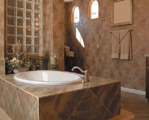 Круглая ванна, установленные в каркас, в интерьере ванной комнаты