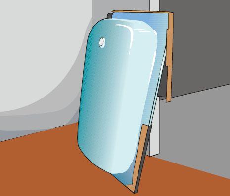 Заносим ванну в санузел в вертикальном положении