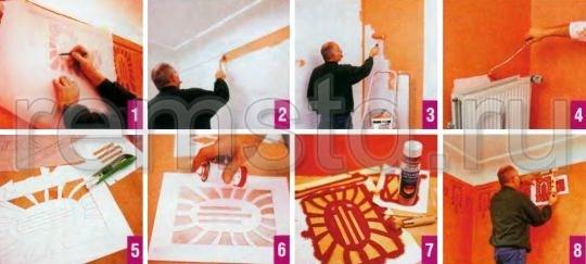 Нанесение краски на стену с помощью трафарета