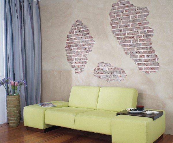 Декорирование стен - имитация кирпичной кладки
