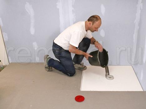 Монтаж душа со сливным трапом в полу