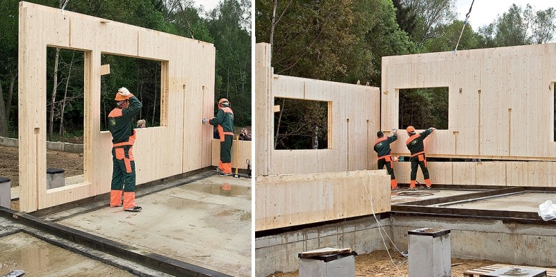 Строительство дома из деревянных клееных панелей