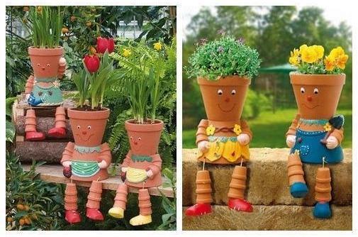 Человечек из цветочных горшков