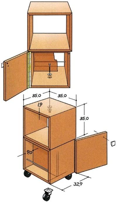 Эскизная модель поворотного шкафчика
