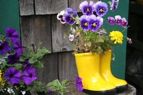 Цветник - клумба из старых резиновых сапог