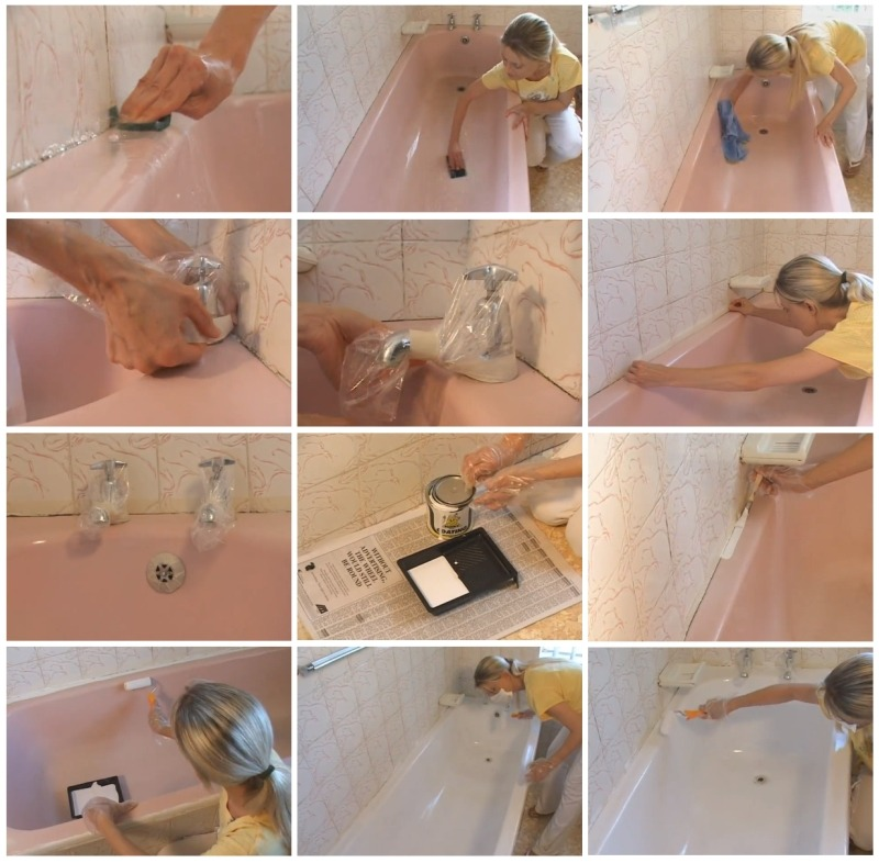 Этапы нанесения нового слоя эмалевого покрытия ванны