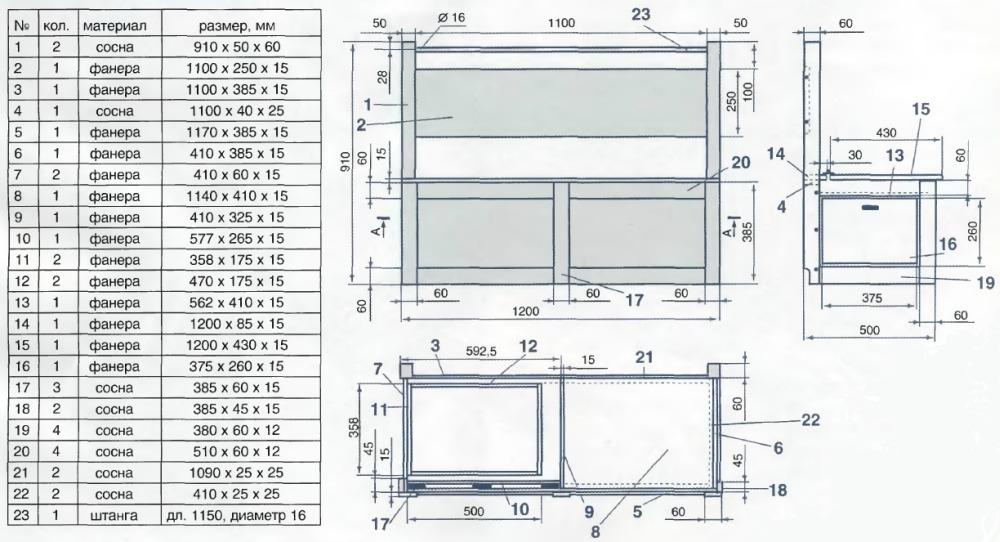 Необходимые материалы и чертеж дивана