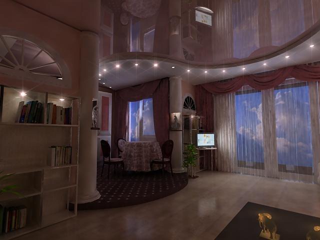 Натяжной потолок в гостиной и зале