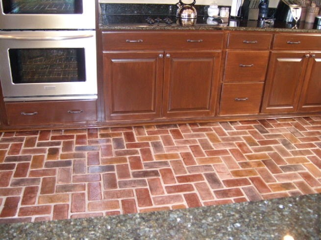 Brick kitchen floor tile