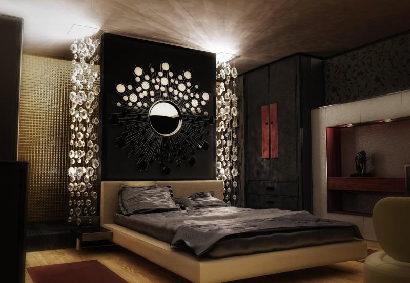 Замшевый натяжной потолок в спальне SEF