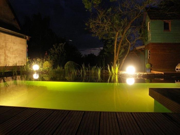 Когда наступает ночь и зажигают светильники и подводные фонари, пруд преображается.