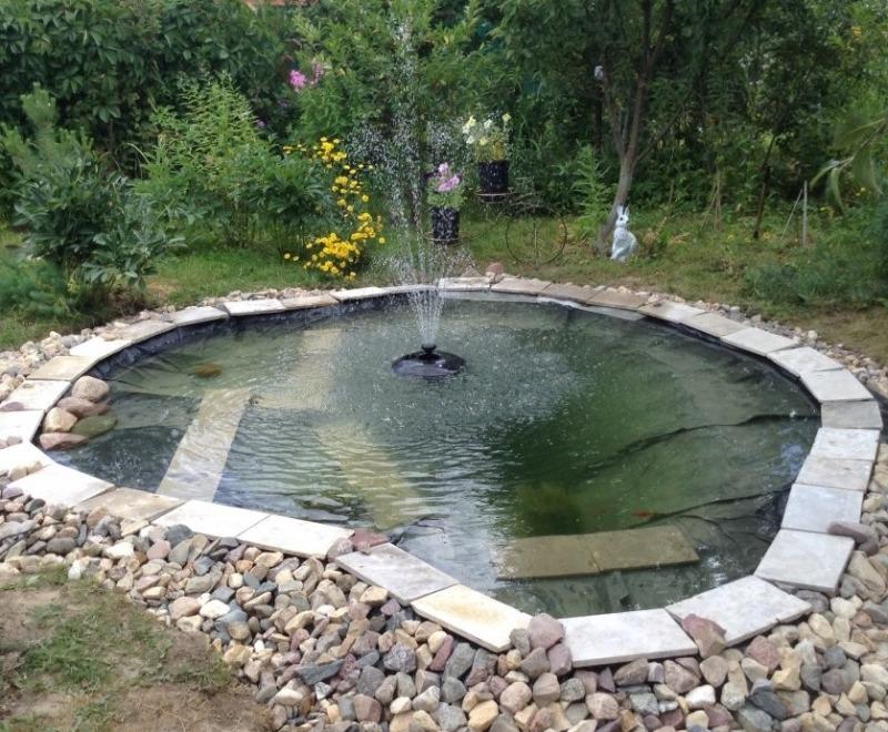 Садовый декоративный пруд и фонтан
