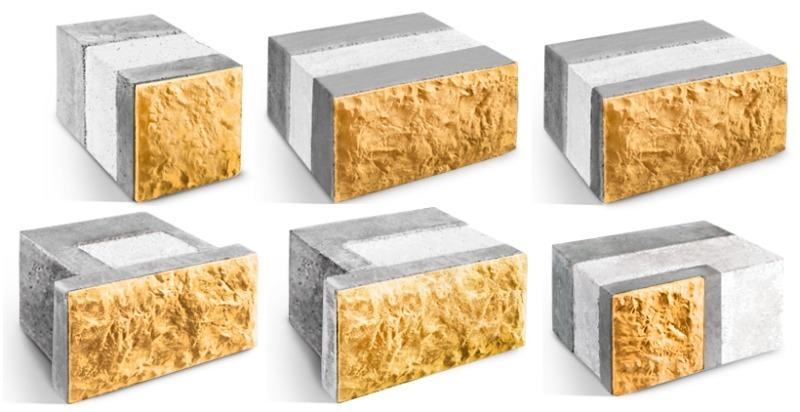 Различные исполнения теплоблоков - теплоэффективных блоков