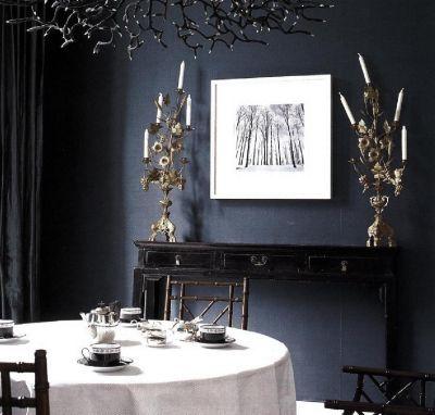 Удачный выбор для столовой - стены цвета индиго.