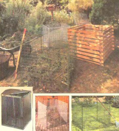 Простые в изготовлении компостные емкости для сада. Подходят для быстрой переработки травы, листьев и сорняков.