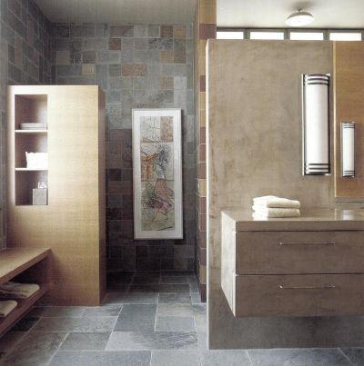 Ванная комната оформлена в «земляных» оттенках