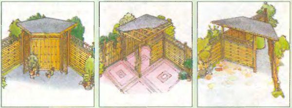 Идея использования угловых зон участка представлена несколькими вариантами