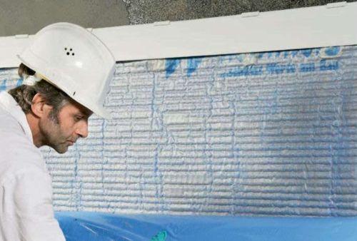 Дренажное полотно DS-Systemschutz входит в систему гидроизоляции фундамента от Remmers (защищает водонепроницаемое покрытие от повреждений и обеспечивает вертикальный дренаж)