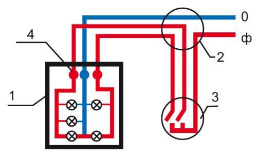 Схема подключения люстры с 5 лампочками и двухклавишным выключателем: 0 — ноль; ф — фаза; 1 — люстра; 2 — коробка соединений; 3 — двухклавишный выключатель; 4 — соединительные клеммы