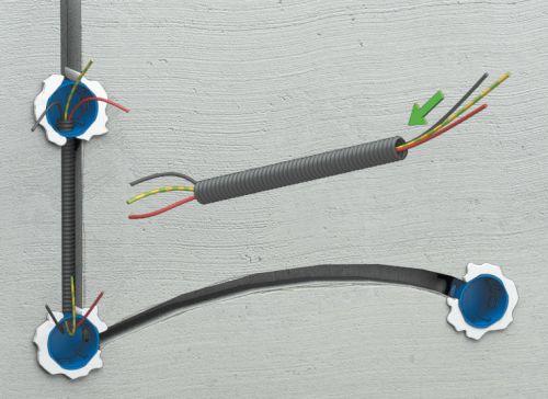 Шаг четвертый: после того как коробки прихвачены, нужно отмерить отрезки кабеля и труб (если они будут прокладываться) и вложить проводники в штробы
