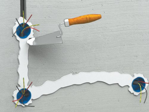 Шаг шестой: после того как штукатурка высохнет, можно устанавливать розетки и выключатели