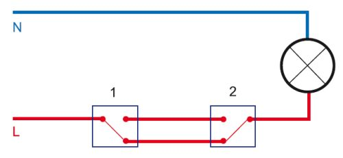На схеме показан принцип работы проходных выключателей