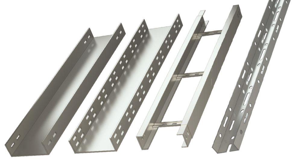 Виды металлических лотков (слева направо): гладкий, перфорированный и лестничный
