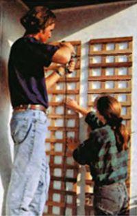 Для крепления шпалер используют длинные регулируемые дюбели. Особенность их в том, что они позволяют подвесить шпалеры на некотором расстоянии от стены, так что растения могут полностью оплести решетку и их свежая зелень будет великолепно смотреться на белой стене