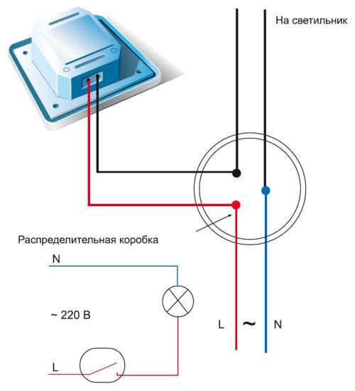 Схема подключения выключателя (диммера)