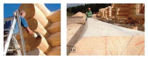 11. Торцы брёвен обрабатывают антисептирующим составом, который защищает древесину от биологического поражения во время строительства и к тому же препятствует образованию трещин 12. Для стен второго этажа заготавливают брёвна в виде лафета, то есть стёсывают вертикальные грани (с внутренней стороны)
