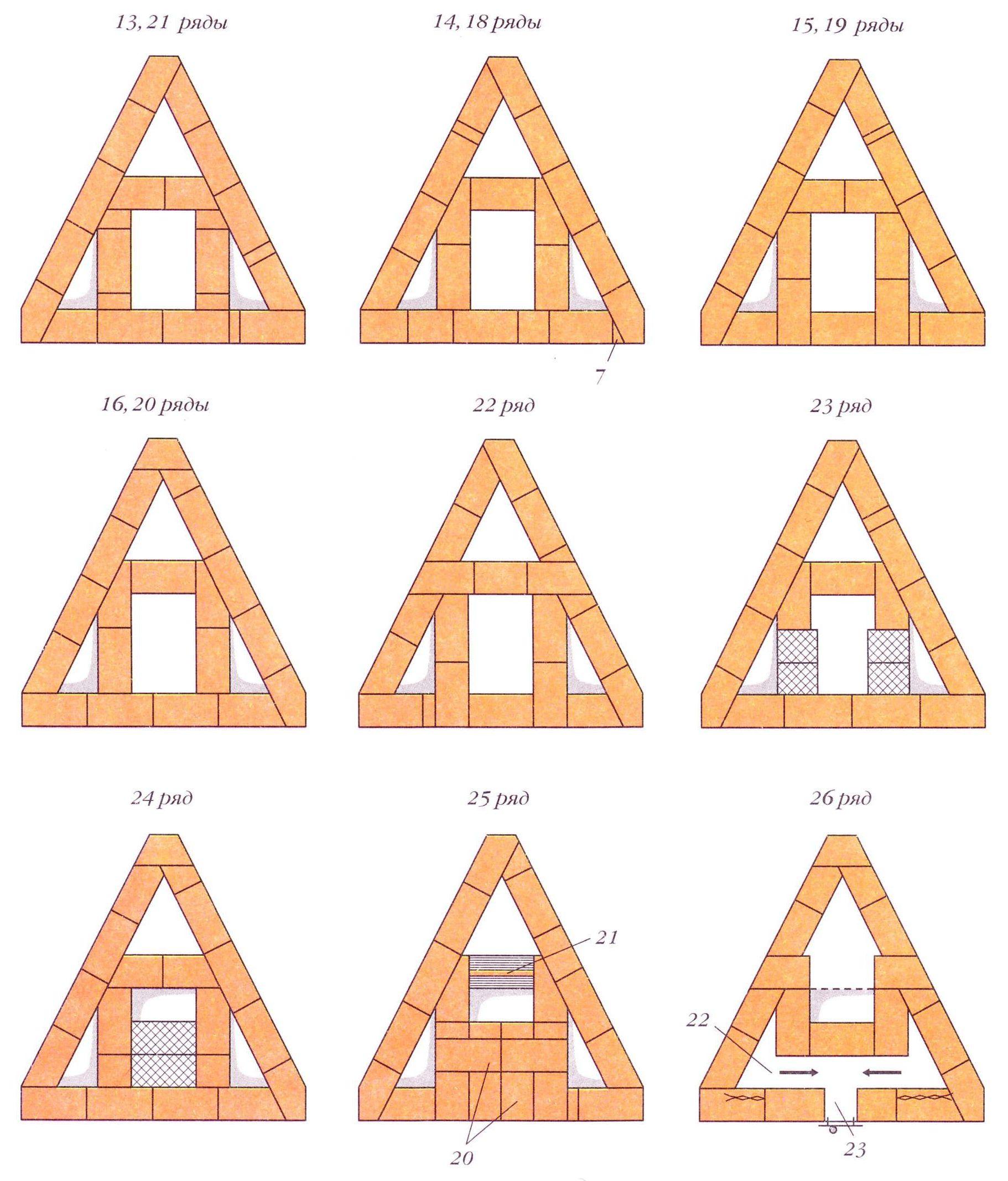 Треугольная печь. Порядовки (ряды 13-16, 18-26)