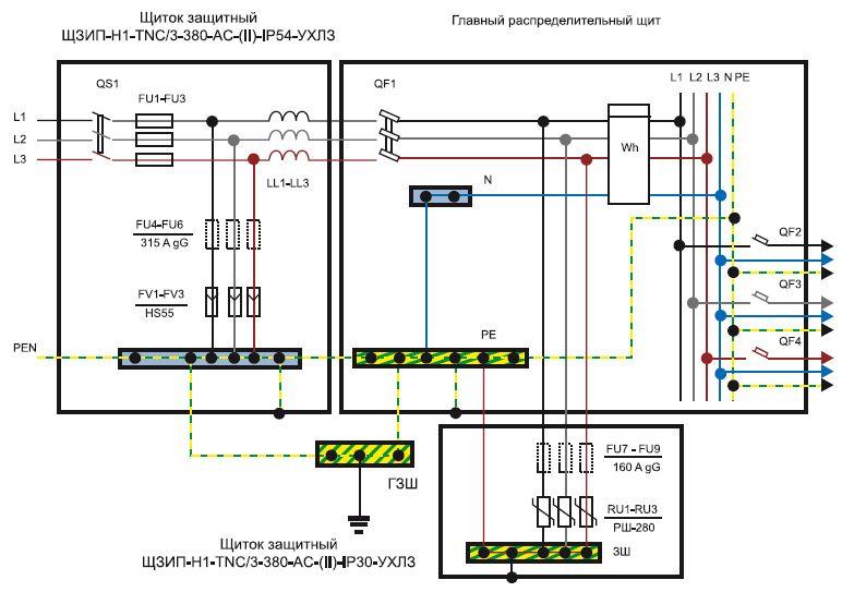Схема подключения устройства защиты от импульсных перенапряжений